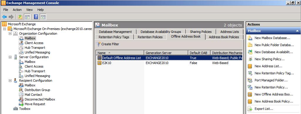 exchange 2010 offline address book not updating