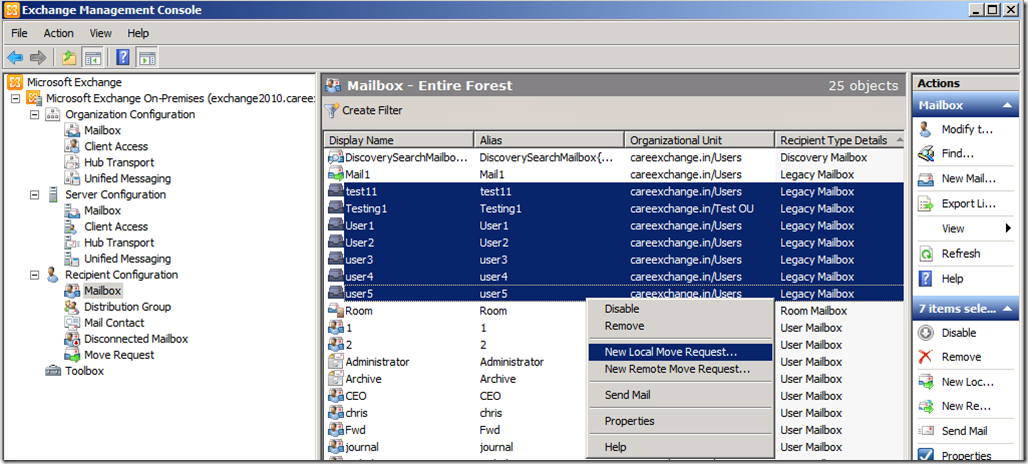 Moving Mailboxes from Exchange 2003 to Exchange 2010
