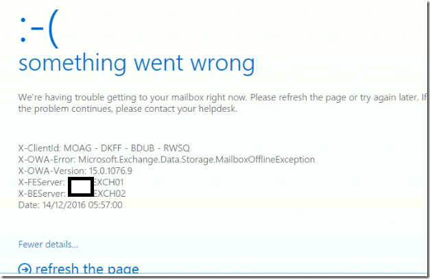 HTTP 500 Error in OWA and ECP Something Went wrong