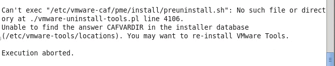 Unable to find the answer CAFVARDIR in the installer Database–VMtools