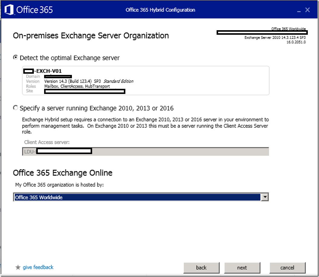 Hybrid Configuration Wizard on Exchange Server
