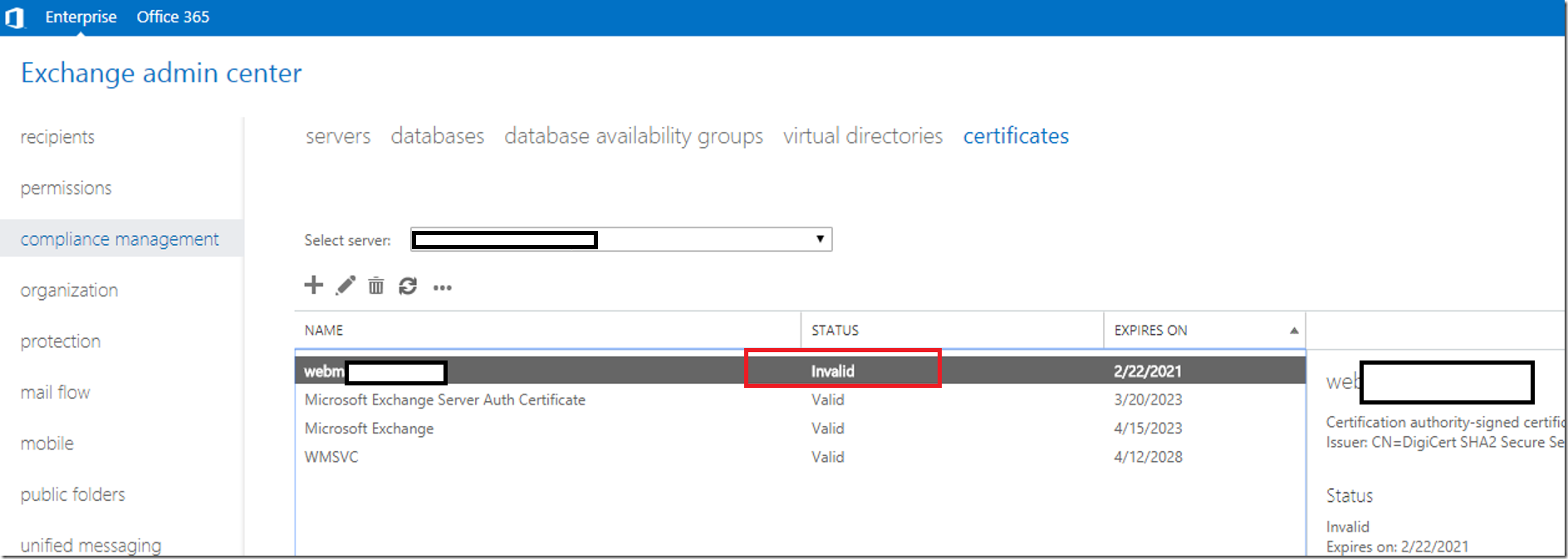 Certificate Is Invalid And Revocation Check Failure In Exchange Server
