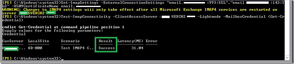 Configuring IMAP in Exchange Server 2016