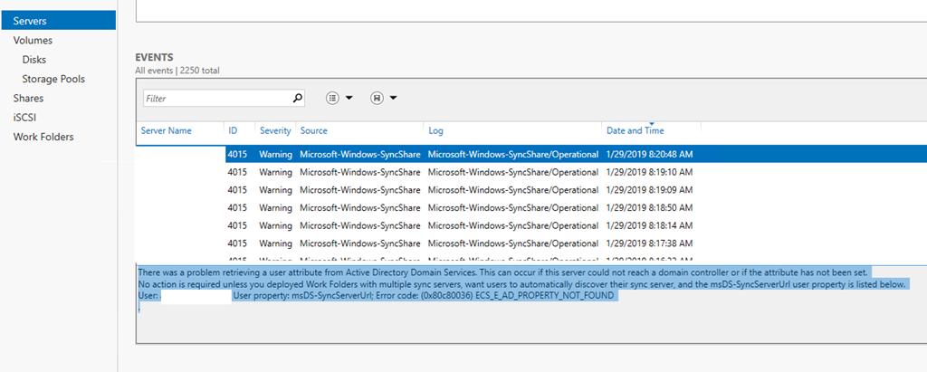 Work Folders Failed to create a user folder for a sync share