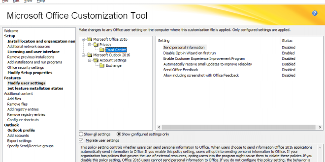 Using Office 2016 Customization Tool SCCM
