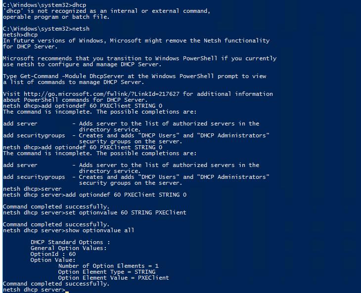 Add Option 60 in DHCP Server for SCCM